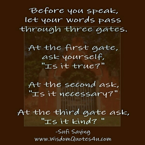Before you Speak, let your words pass through three Gates