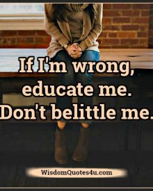 If I'm wrong educate me, don't belittle me