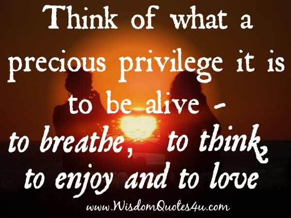 It's precious privilege to be alive