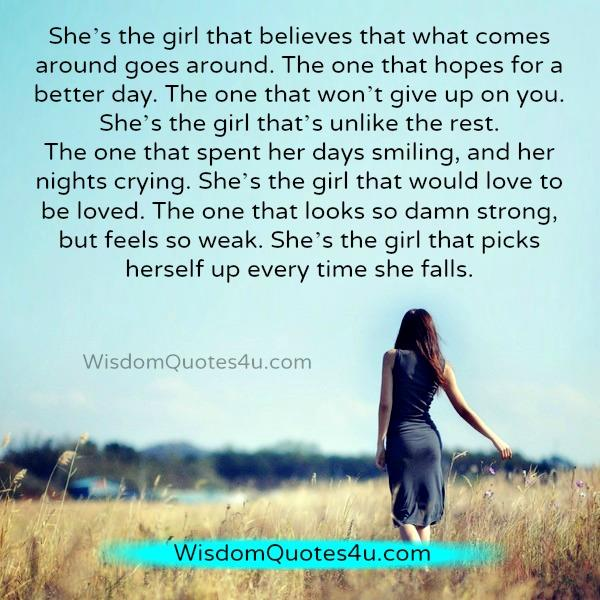 She's The One That Won't Give Up On You