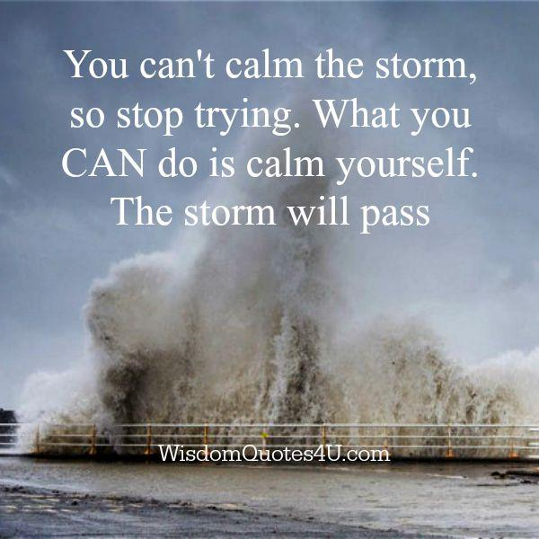 You can't calm the storm