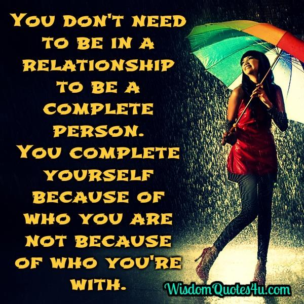 You don't need to be in a relationship