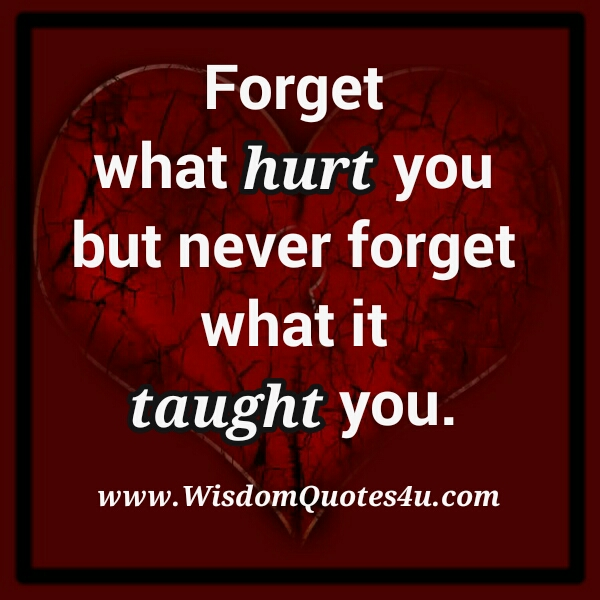 Forget what Hurt you
